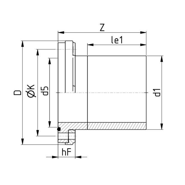 Technische Zeichnung VP Flansch